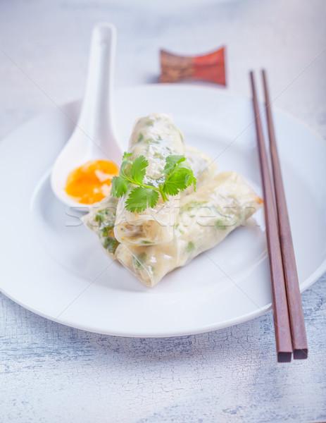 Rizs papír tekercsek tavasz mártás tányér Stock fotó © user_11224430