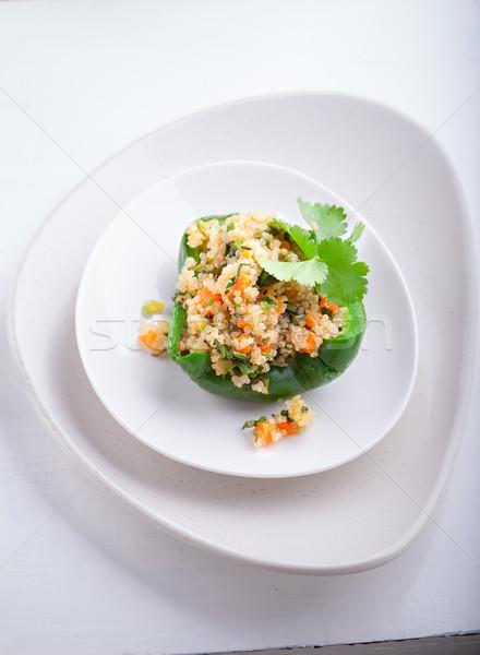 Doldurulmuş kırmızı yeşil biber gıda Stok fotoğraf © user_11224430