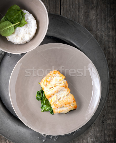 Fried cod fillets and spinach Stock photo © user_11224430