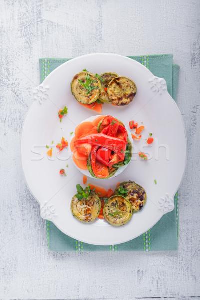Rizs sült cukkini paprikák répák asztal Stock fotó © user_11224430