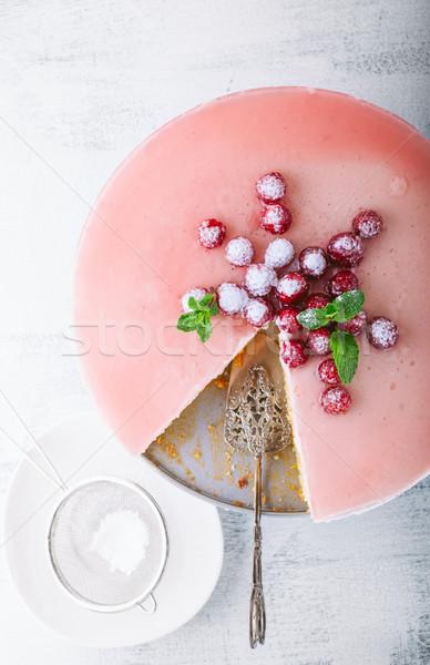 Frambuesa yogurt torta bayas mesa frutas Foto stock © user_11224430