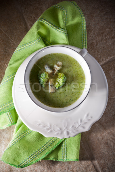 A bowl of creamy broccoli soup Stock photo © user_11224430