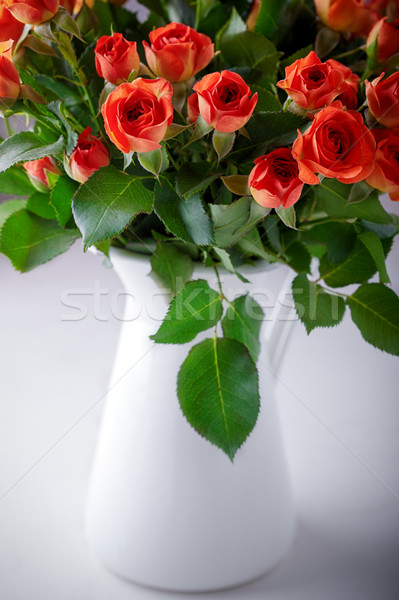 Big Bouquet of fresh Red Roses on a white background. Stock photo © user_11224430
