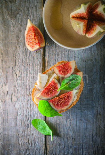 Sandwich with soft cheese and figs  Stock photo © user_11224430
