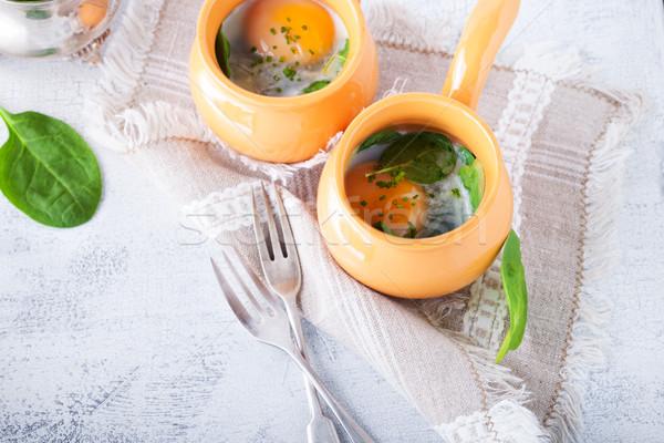 Uova spinaci parmigiano colazione formaggio Foto d'archivio © user_11224430