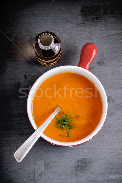 Calabaza sopa cuchara servido mesa alimentos Foto stock © user_11224430