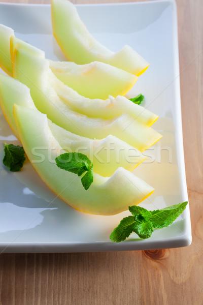 дыня Ломтики свежие зрелый белый пластина Сток-фото © user_11224430