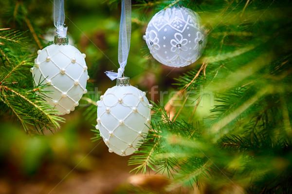 Karácsony díszek játékok karácsonyfa fehér ünnep Stock fotó © user_11224430