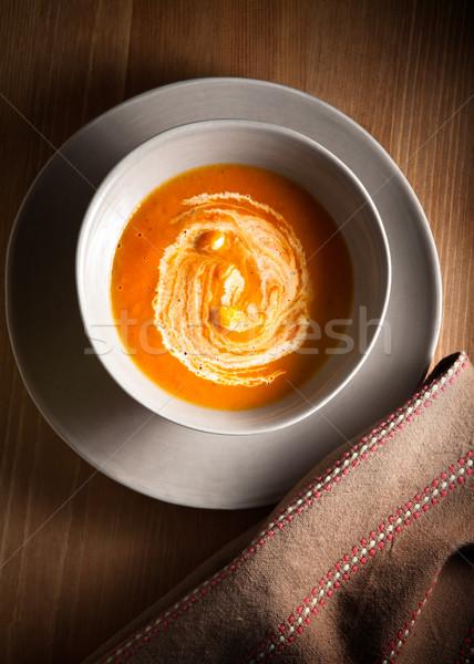 Calabaza sopa crema agria mesa cena cuchara Foto stock © user_11224430