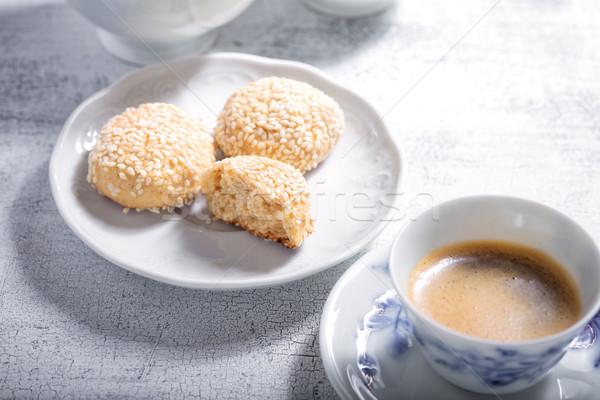 Mandula sütik kávé felszolgált desszert ünnep Stock fotó © user_11224430