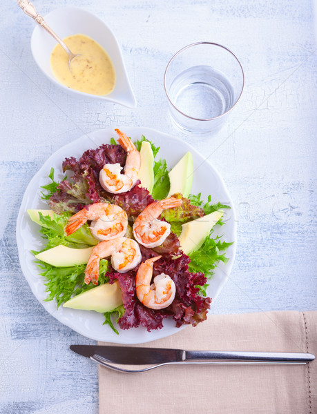 Avocado shrimp salad with mustard sauce Stock photo © user_11224430