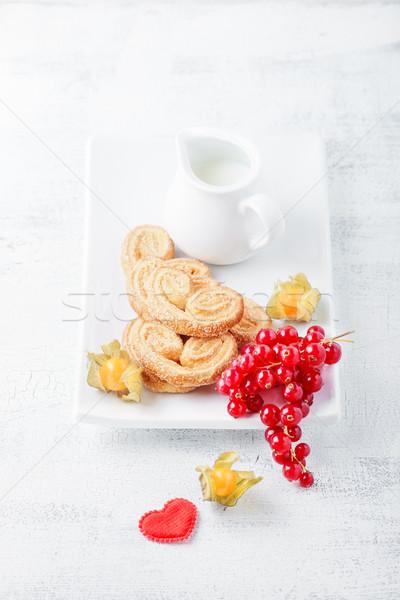 Biscuits suiker kaneel valentijnsdag voedsel ontbijt Stockfoto © user_11224430