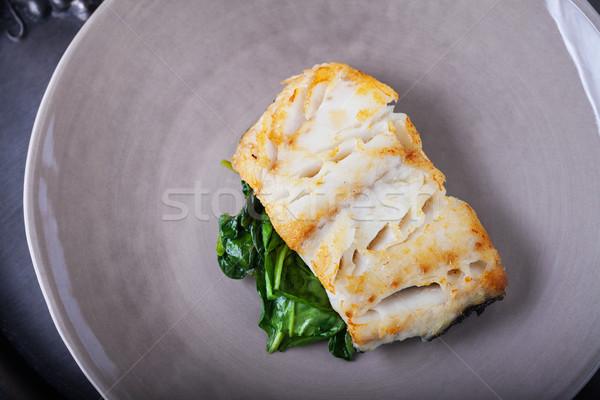 Frito espinafre prato jantar fotografia Foto stock © user_11224430