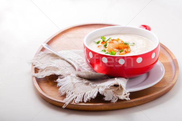 Cremoso couve-flor sopa tigela jantar vegetal Foto stock © user_11224430