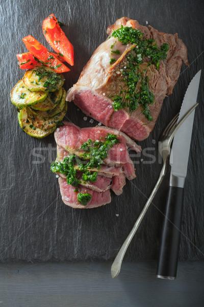 Rindfleisch Abendessen Zucchini Pfeffer Salsa Stock foto © user_11224430