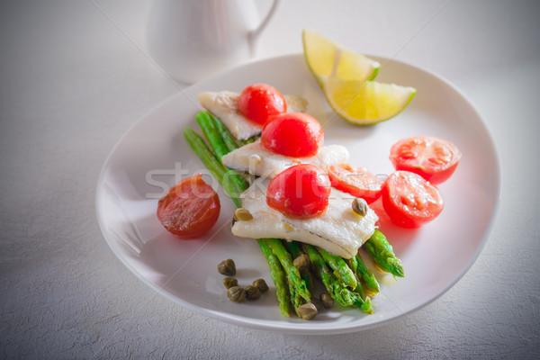 Makreel asperges citroen tomaat voedsel kers Stockfoto © user_11224430