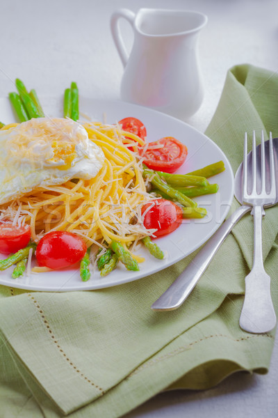 Spaghetti with egg and vegetables Stock photo © user_11224430
