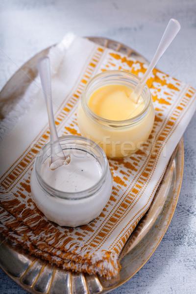 Kókusz citrom asztal tányér fehér desszert Stock fotó © user_11224430