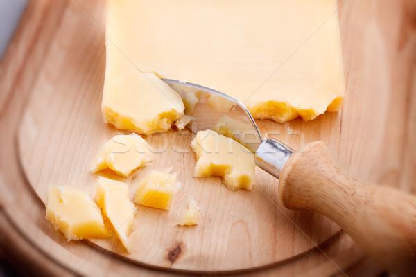 Queijo parmesão faca foco cozinha Foto stock © user_11224430