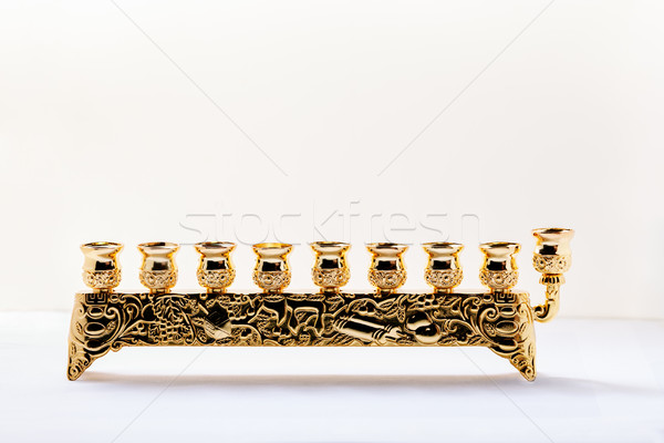 Nine-branched mehorah Hanukiah on white backgound Stock photo © user_11224430