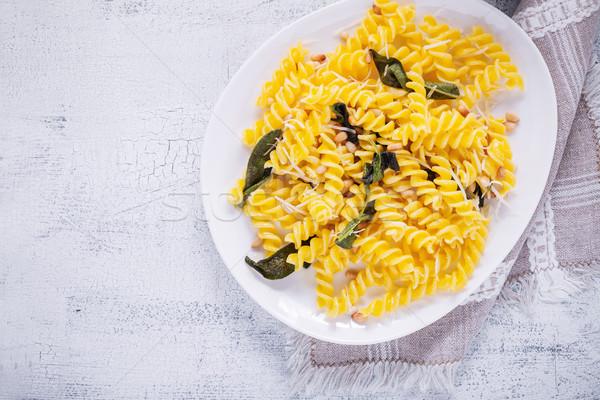 Pasta knoflook salie pine noten glutenvrij Stockfoto © user_11224430