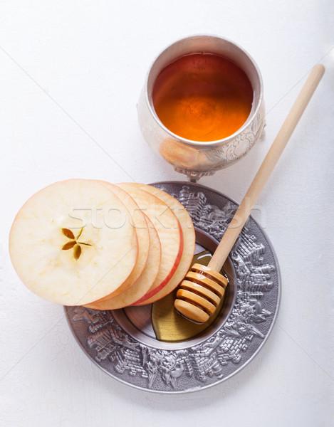 Honing appels plaat fotografie jar horizontaal Stockfoto © user_11224430