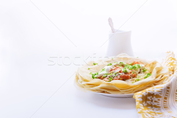 Crepes with smoked salmon. Stock photo © user_11224430