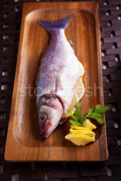 海 低音 パセリ レモン 準備 料理 ストックフォト © user_11224430