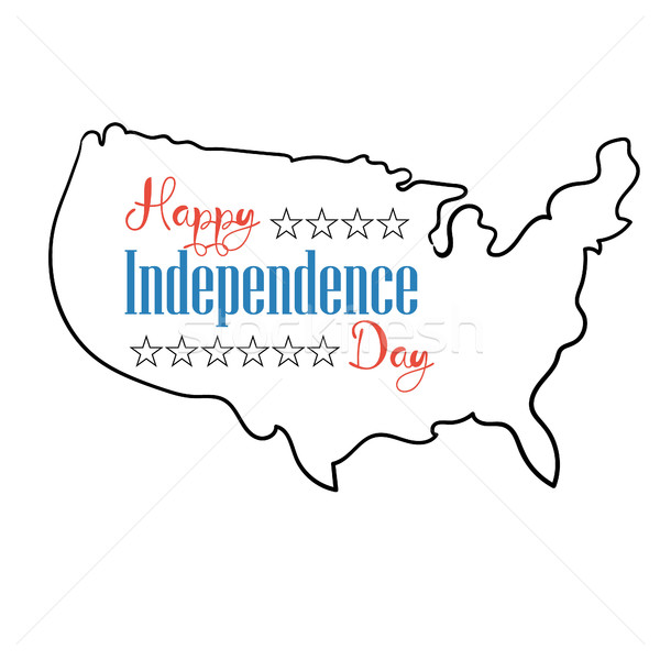 Happy independence day card. Silhouette map united states of america Stock photo © user_11397493