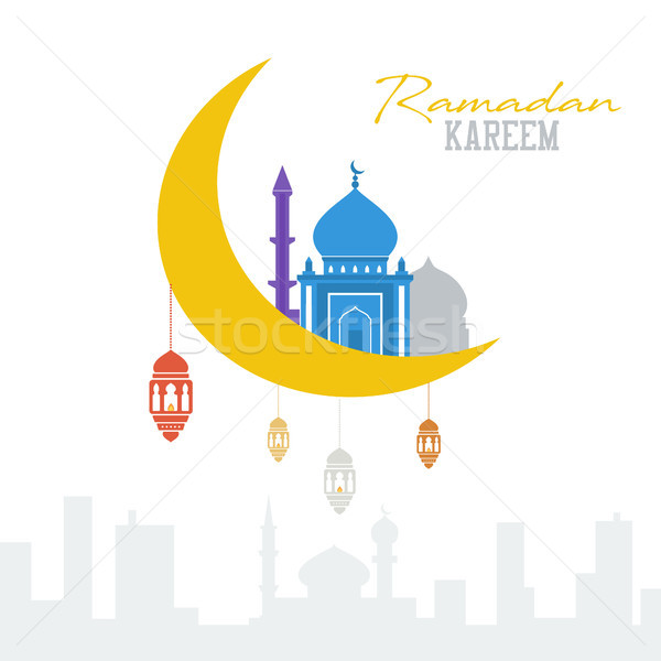 Ramadan kareem concept. Muslim mosque with lanterns and moon. Islam celebration Stock photo © user_11397493