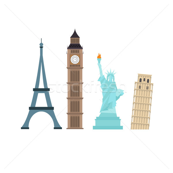 Famous monuments. Big ben statue of liberty pisa paris tower Stock photo © user_11397493