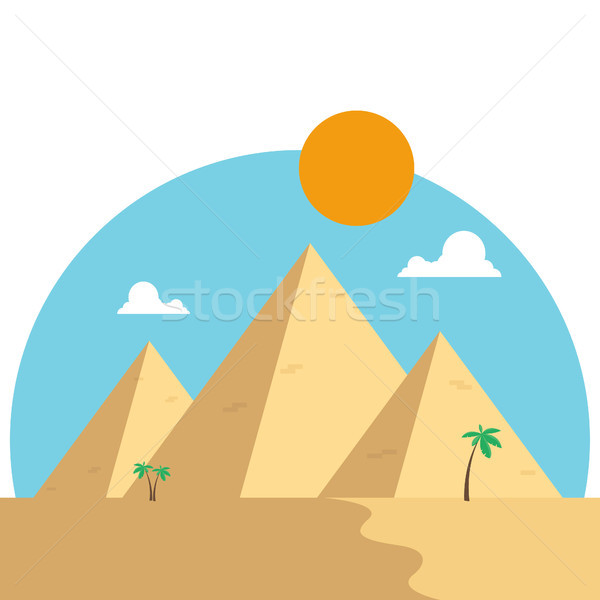 Egypt pyramids in desert flat design. Travel concept famous Stock photo © user_11397493