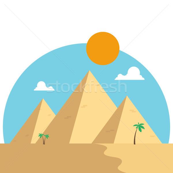 Foto d'archivio: Piramidi · deserto · design · viaggio · noto · palme