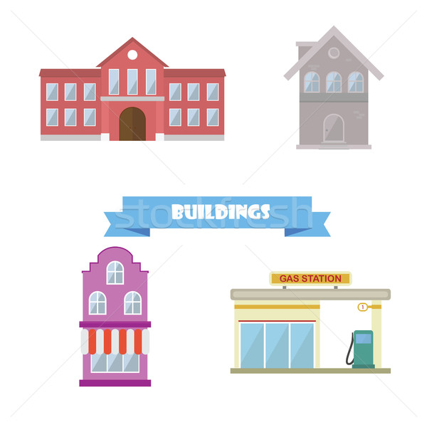 Buildings collection. Flat design school, house, gas station Stock photo © user_11397493