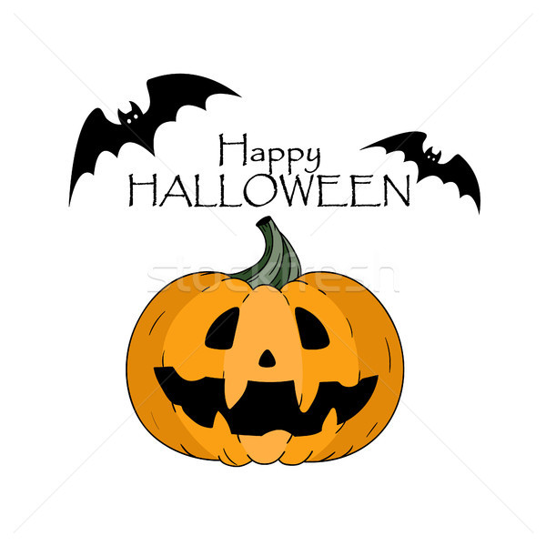 Happy halloween concept. Bats. Pumkin with scary face and lettering hand drawn Stock photo © user_11397493