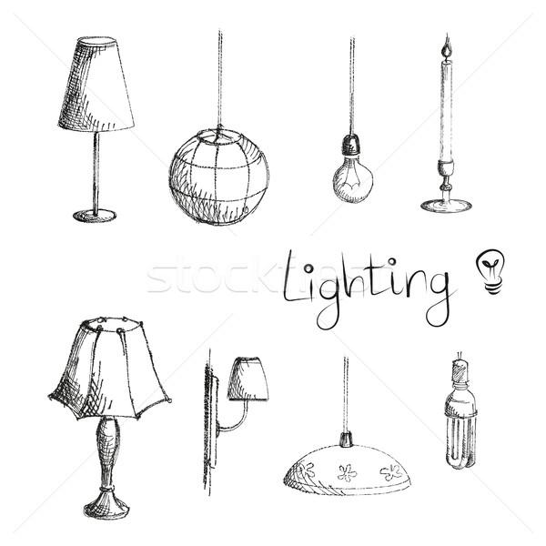 照明 ランプ セット 手描き 孤立した 手 ストックフォト © user_11397493