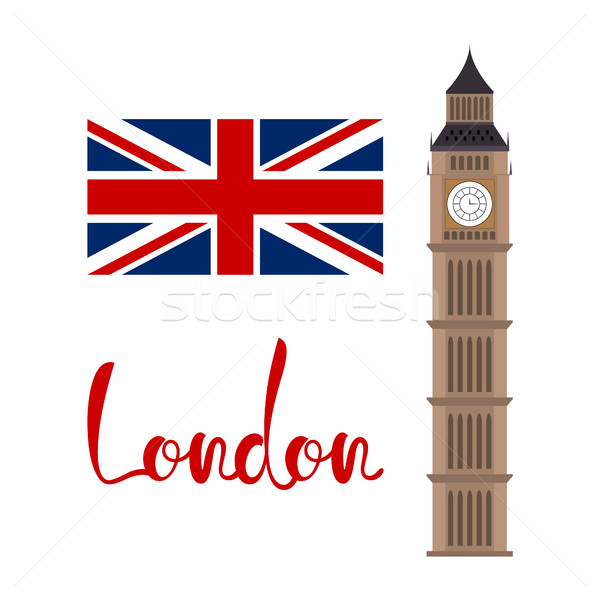London concept. Big ben tower with flag and lettering Stock photo © user_11397493