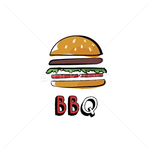 手描き ハンバーガー バーベキュー 孤立した 背景 芸術 ストックフォト © user_11397493