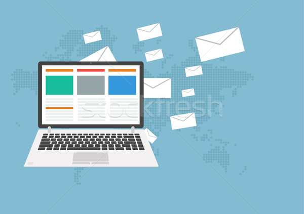 Email markeing concept. Many letters flying on earth Stock photo © user_11397493