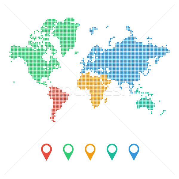 Colourful dotted world map of continents Stock photo © user_11397493