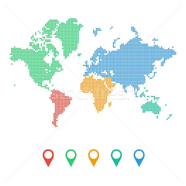 Renkli noktalı dünya haritası kıtalar yalıtılmış iş Stok fotoğraf © user_11397493