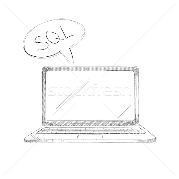 Hand drawn programming language concept laptop sql Stock photo © user_11397493
