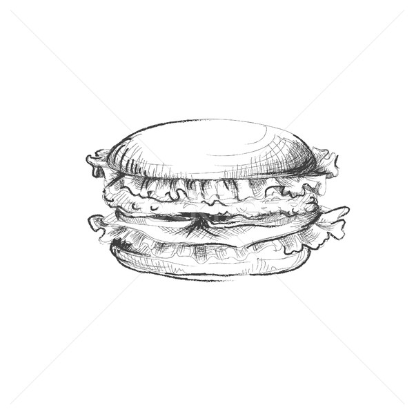 Hand drawn burder with tomato, cheese, meat sketch Stock photo © user_11397493