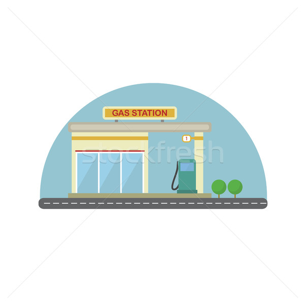 Station d'essence design isolé affaires ville pétrolières Photo stock © user_11397493