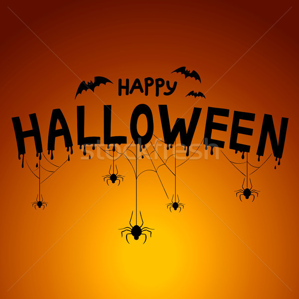Heureux halloween post carte araignées effrayant Photo stock © user_11397493