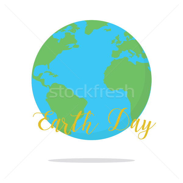 Flat earth day card. Earth Stock photo © user_11397493