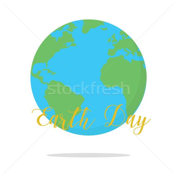 Föld napja kártya Föld fehér víz tenger Stock fotó © user_11397493