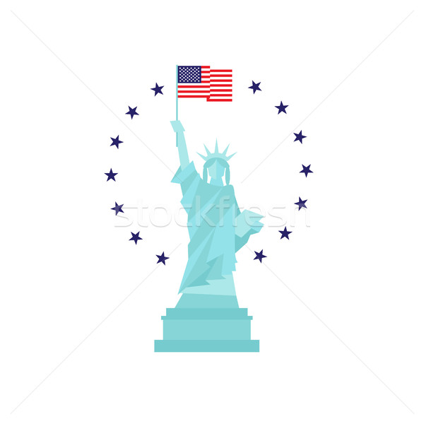 Usa Independence day concept. Statue of liberty with flag Stock photo © user_11397493