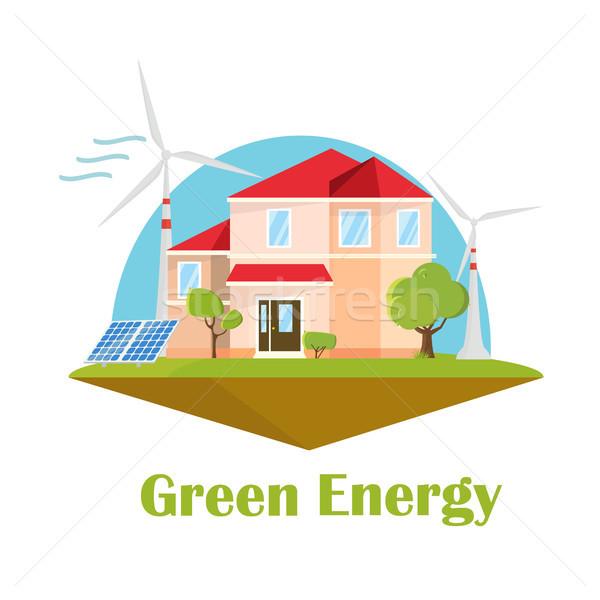 Eco huis zonne wind energie groene energie Stockfoto © user_11397493