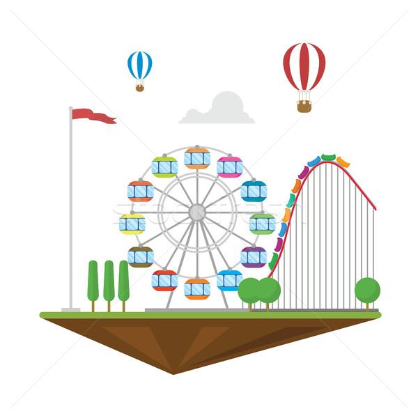 Amazement park flat landscape isolated hot balloon roller coaster Stock photo © user_11397493